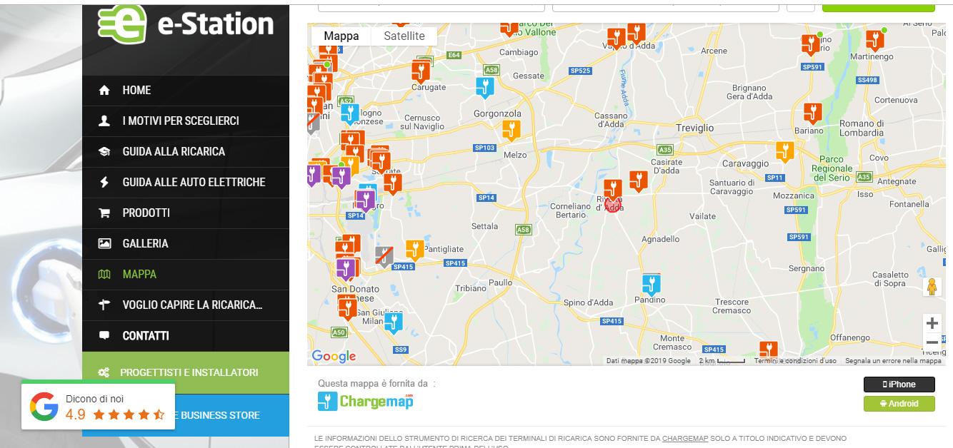 e-station mappa screenshot rivolta d'adda colonnine elettriche per viaggiare
