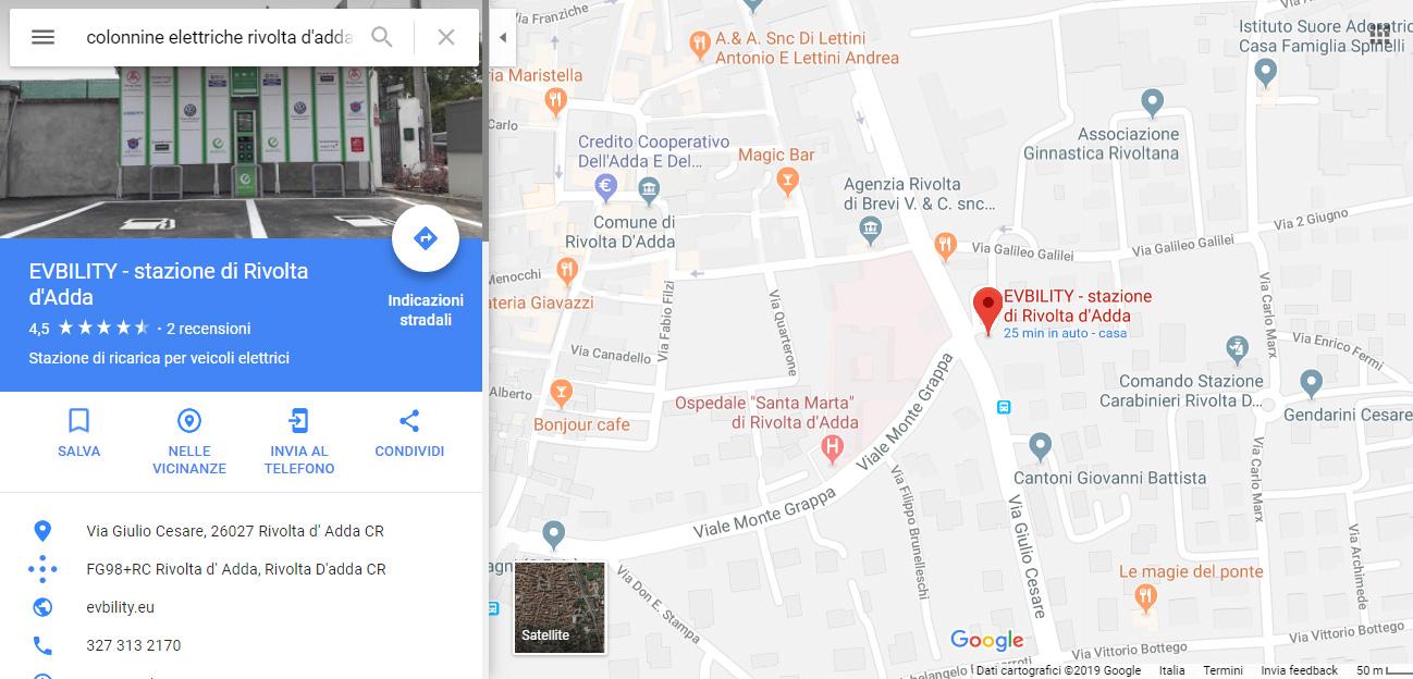 google maps colonnine elettriche per viaggiare
