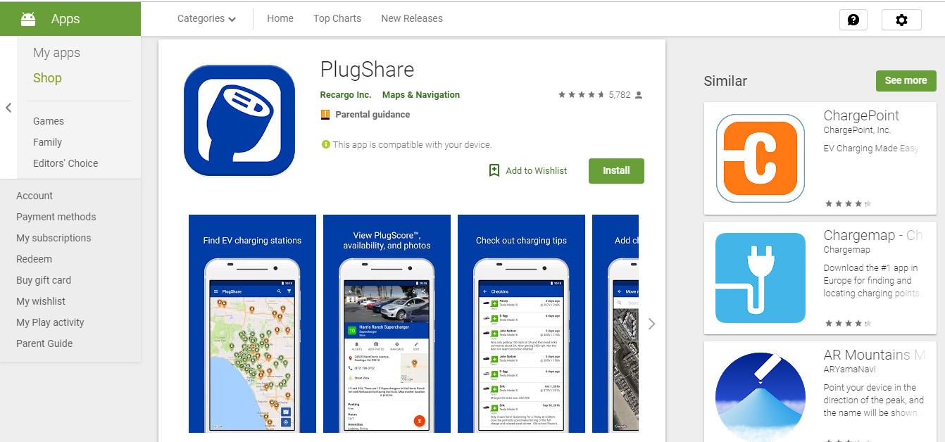 plugshare app screenshot colonnine elettriche per viaggiare